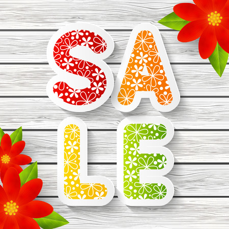 spring message: Spring sale message with red flowers Illustration