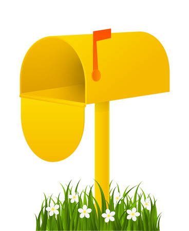 mail box: Yellow mail box with green grass Illustration