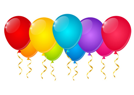 balloon border: Color balloons on white background Illustration