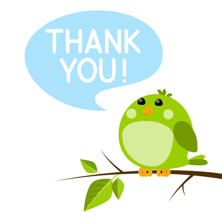 Cute bird with thanks message