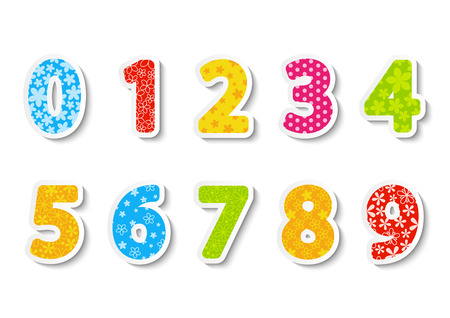 numbers: Set of color paper numbers Illustration