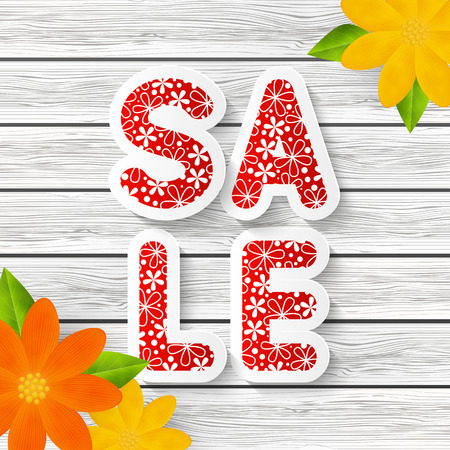 spring message: Spring sale message with color flowers
