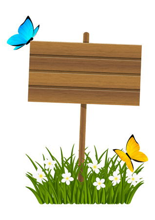 wooden signboard: Wooden signboard with green grass Illustration