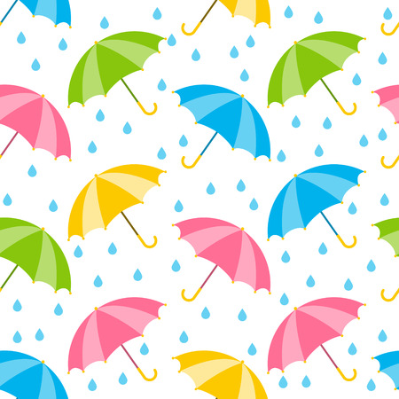 Seamless pattern with color umbrellas