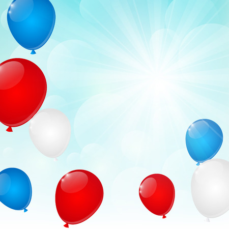 Color balloons on sunny background Vector