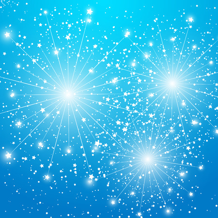 Shiny fireworks on blue background Vector