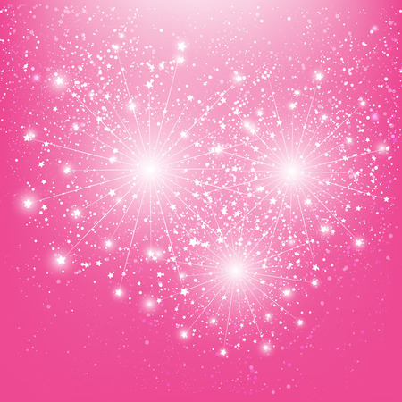Shiny fireworks on pink background Vector