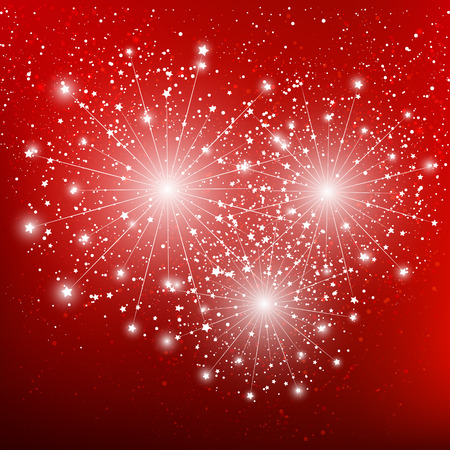 Shiny fireworks on red background Vector