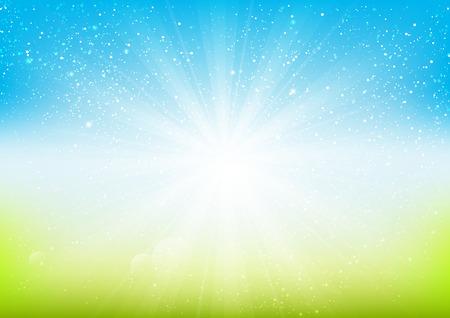Shiny light on blue background