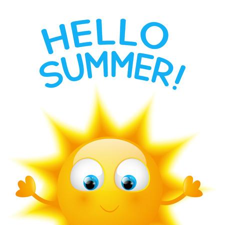 Cartoon Sun with summer word Illustration