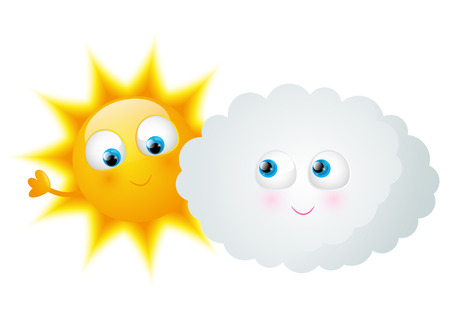 sun light: Cartoon Sun with funny cloud Illustration