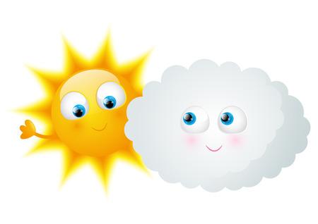 sol caricatura: Historieta Sun con la nube divertida Vectores