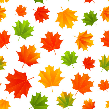 red and white: Seamless pattern with autumn leaves