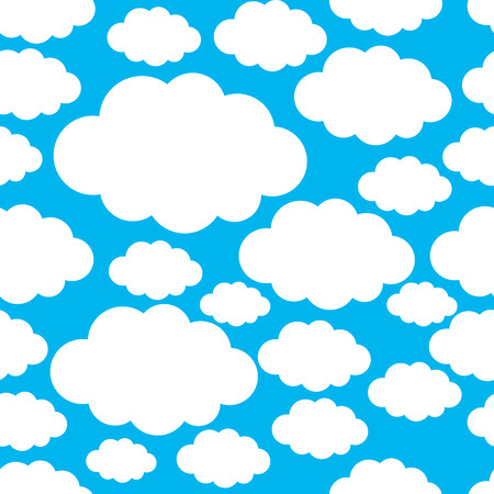 Seamless pattern with white clouds