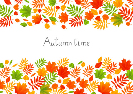 autumn color: Autumn color leaves on white background Illustration