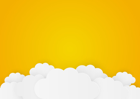 Paper clouds on orange background