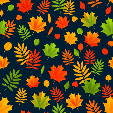 autumn color: Seamless pattern with color autumn leaves
