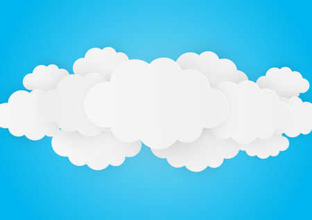 vector image: Paper clouds on blue background