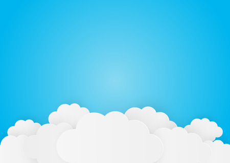 Paper clouds on blue background