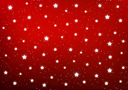 Shiny stars on red background Ilustração