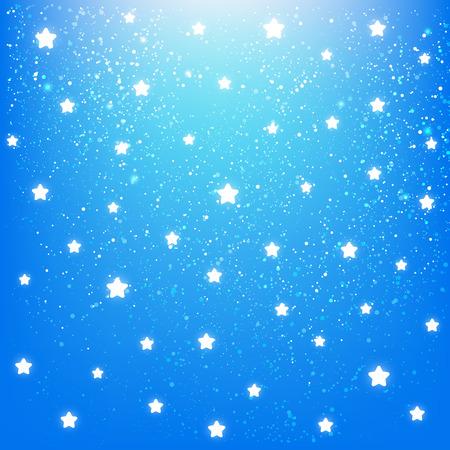 stars sky: Shiny stars on blue sky background