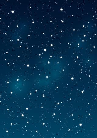 Lesklé hvězdy na noční obloze na pozadí Ilustrace