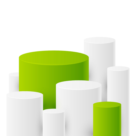 cylinders: Abstract background with white and green cylinders Illustration