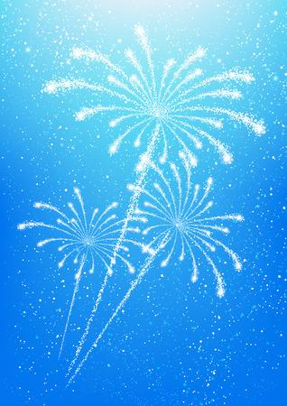 shiny background: Shiny fireworks on blue sky background Illustration