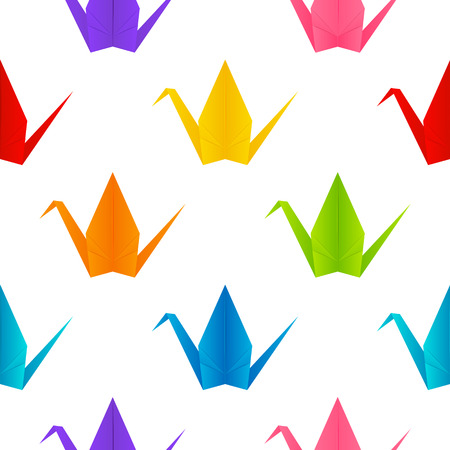 origami: Seamless pattern with origami cranes Illustration