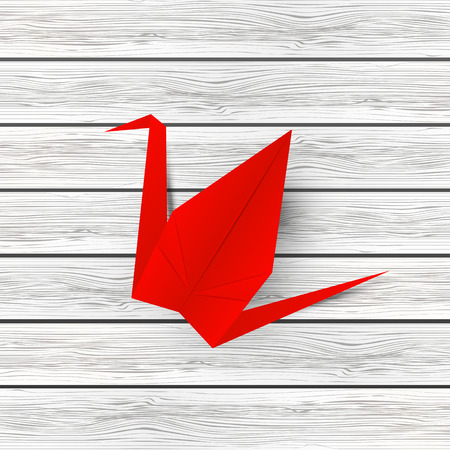 crane origami: Paper origami crane on wooden background Illustration