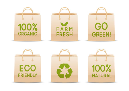paper bags: Set of ecology paper bags