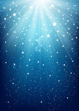 青の背景に光り輝く  イラスト・ベクター素材