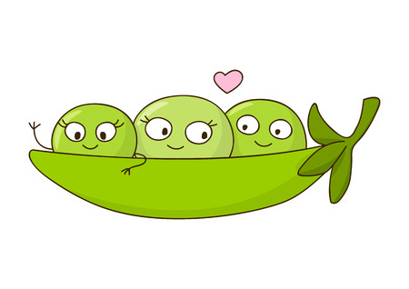 pea pod: Cute peas isolated on white