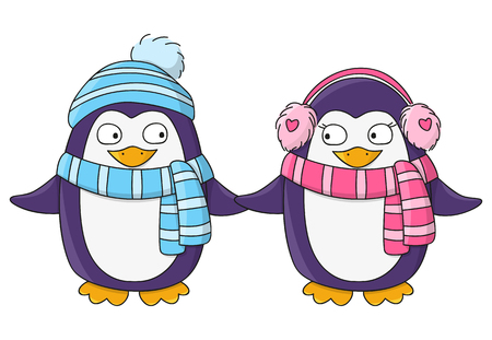 pinguinos navidenos: Pingüinos lindos aislados en blanco