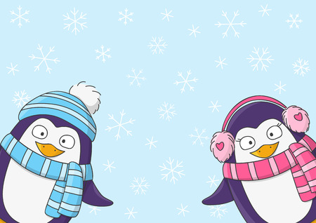 animal cartoon: Cute penguins on snow background