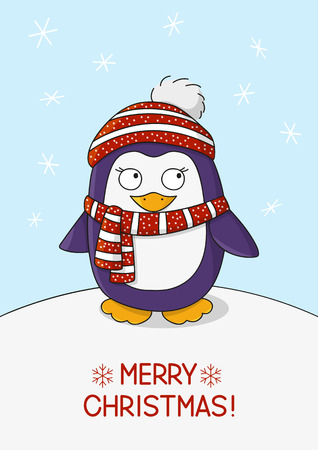chill: Cute penguin on snow background Illustration