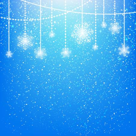 holidays and celebrations: Shiny snowflakes on blue background Illustration