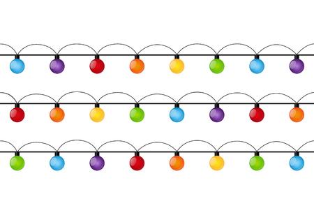 christmas bulbs: Christmas light bulbs isolated on white Illustration