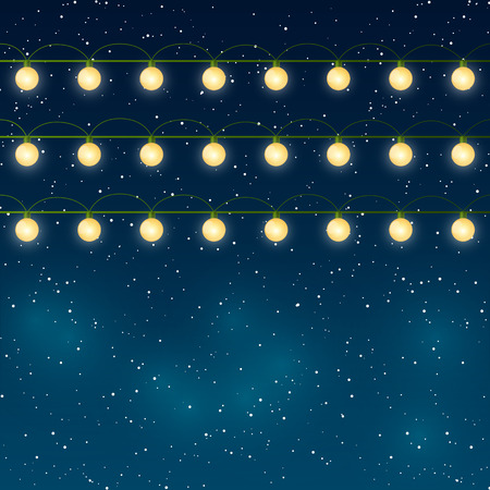 string: Christmas lights on night sky background