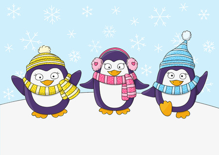 christmas cute: Cute penguins on snow background