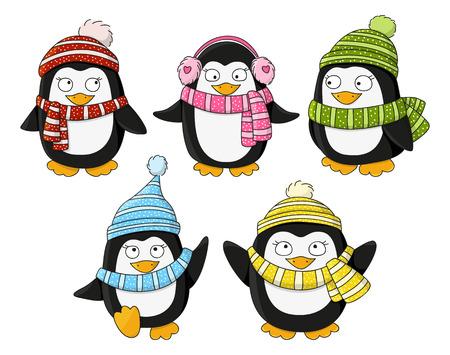 winter vector: Set of cute little penguins Illustration
