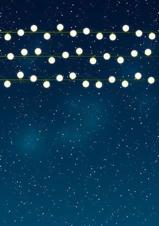 feestelijk: Kerstverlichting op de achtergrond van de nachthemel Stock Illustratie