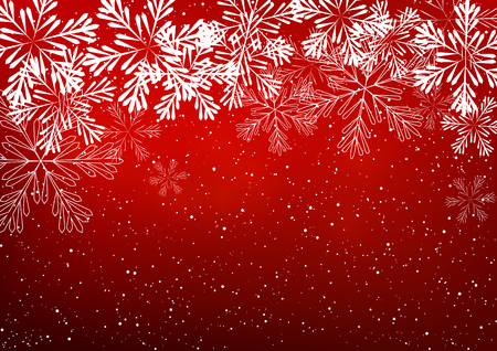 celebrate: Shiny snowflakes on red background Illustration