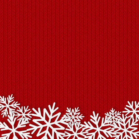red christmas background: Christmas background with paper snowflakes