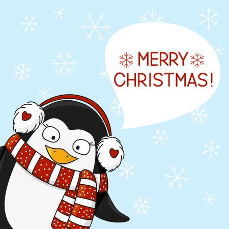 christmas snow: Christmas penguin on snow background Illustration
