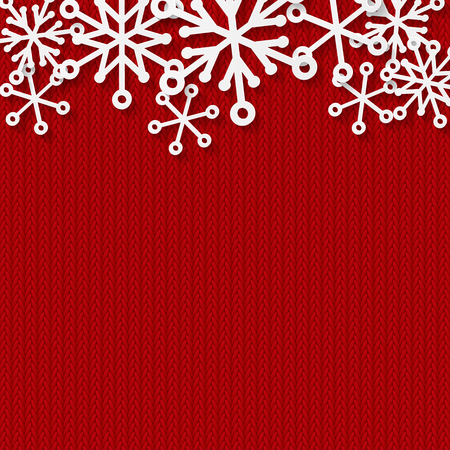 Christmas background with paper snowflakes