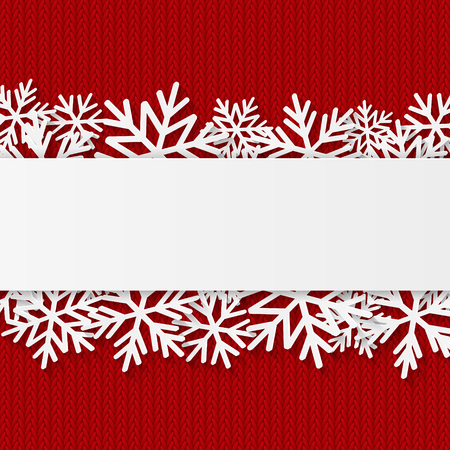 christmas red: Christmas background with paper snowflakes