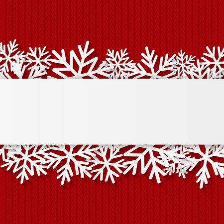 navidad: Fondo de Navidad con copos de nieve de papel Vectores