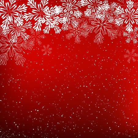 christmas decoration: Shiny snowflakes on red background Illustration