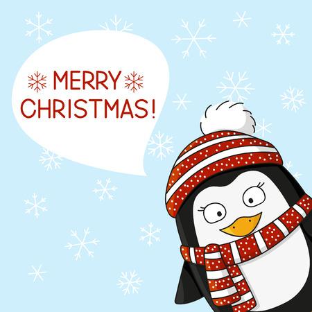 warm clothing: Christmas penguin on snow background Illustration